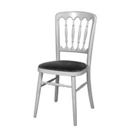 Zilveren franse stoel met donker blauwe zitting