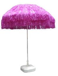 Raffia parasol Roze